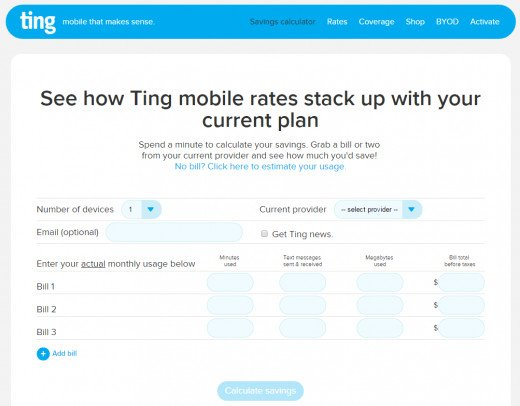 Savings calculator to estimate how much you can save on your cell phone bill by switching to Ting.