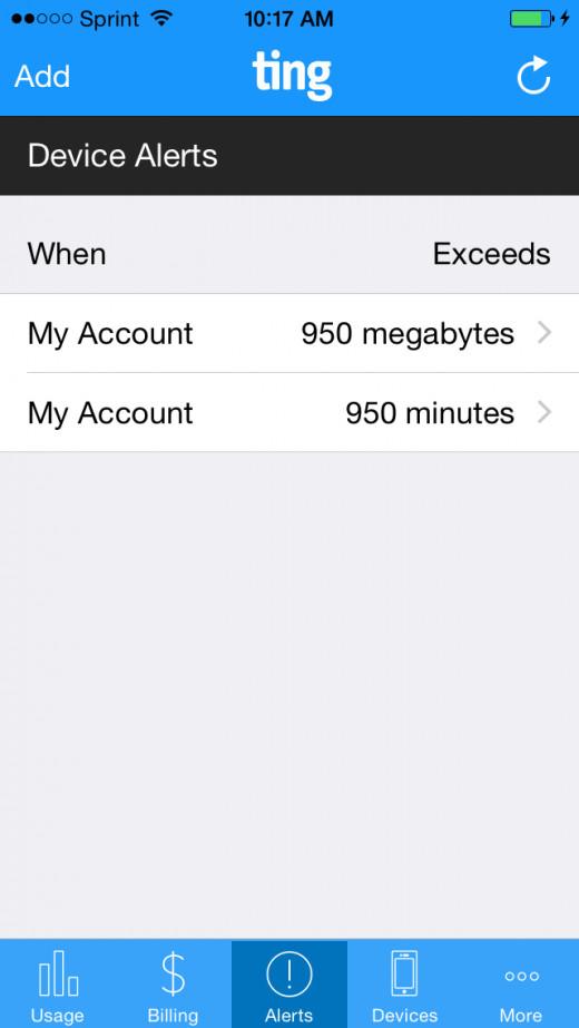 Set alerts to track usage.