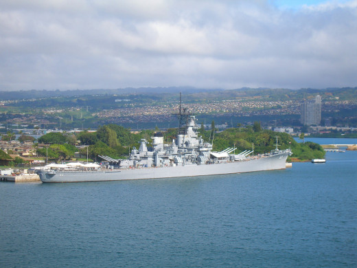 USS Missouri next to the USS Arizona Memorial from the deck of the SBX-1. Sorry, that's all you get...