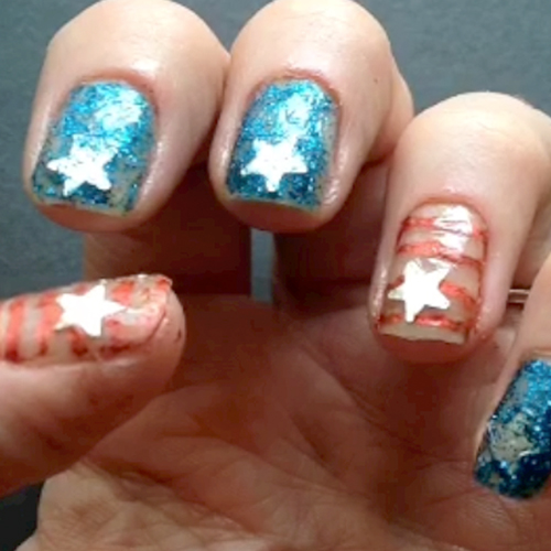 DIY Stars and Stripes Nail Art Manicure Tutorial (video)