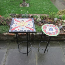 Two Mosaic Tables made from Old Stools