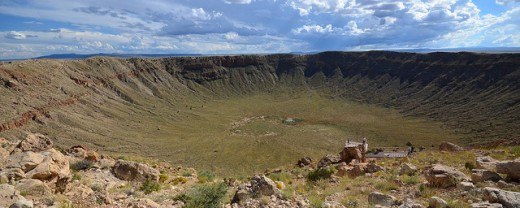 Panoramic view of the Barringer Crater in Arizona.  The crater was created nearly 50,000 years ago by a heavy nickle-iron meteorite over 50 meters across.