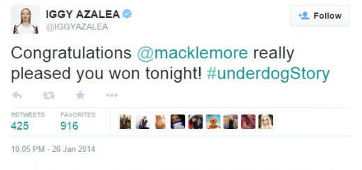 Iggy Azalea believed Macklemore was an underdog at the Grammy Awards. He disagreed.