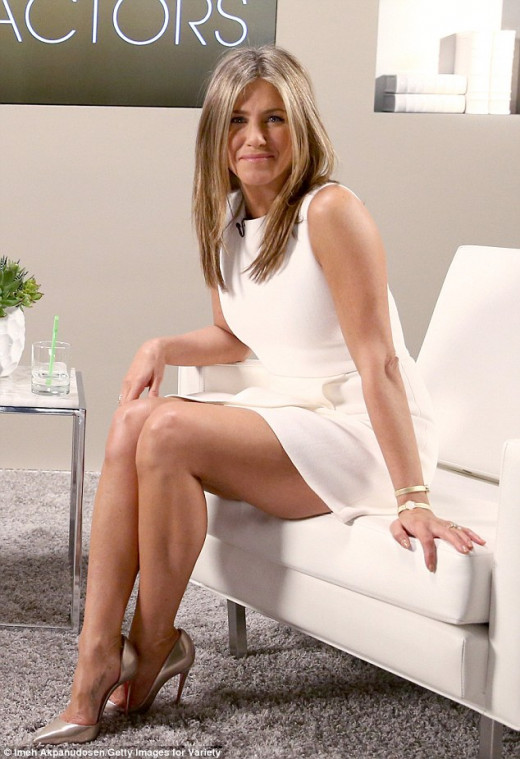 Jennifer Aniston at Variety Actor's on Actors in a sexy little white number and stylish heels