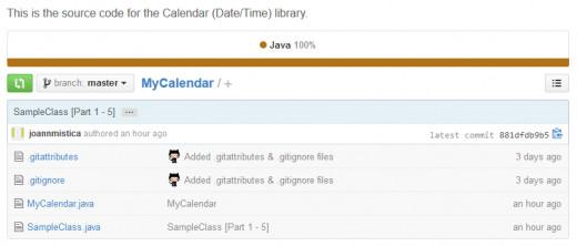 MyCalendar repository on GitHub.