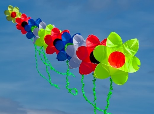 Kite of colored flowers