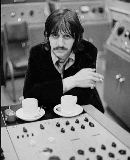 Ringo in the recording booth at Abbey Road
