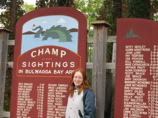 A picture of me taken beside a list of Champ sightings in the Bulwagga Bay area.