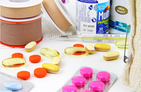 Check expiration dates on all medications and replace after each use.