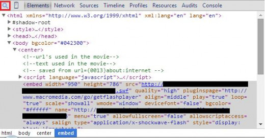 The magnifying glass is squared in red.  You can see where the code containing the flash object is highlighted.