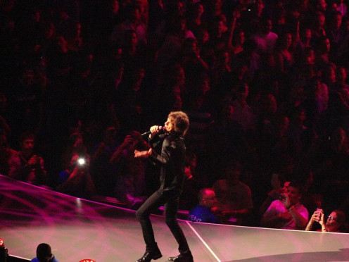 Jagger singing during the Rolling Stones' 50 & Counting Tour in Boston, Massachusetts, 12 June 2013