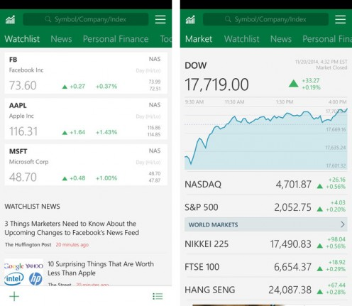 MSN Money App interface