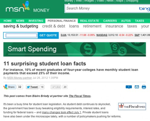 MSN Money website where MSN Money App is found