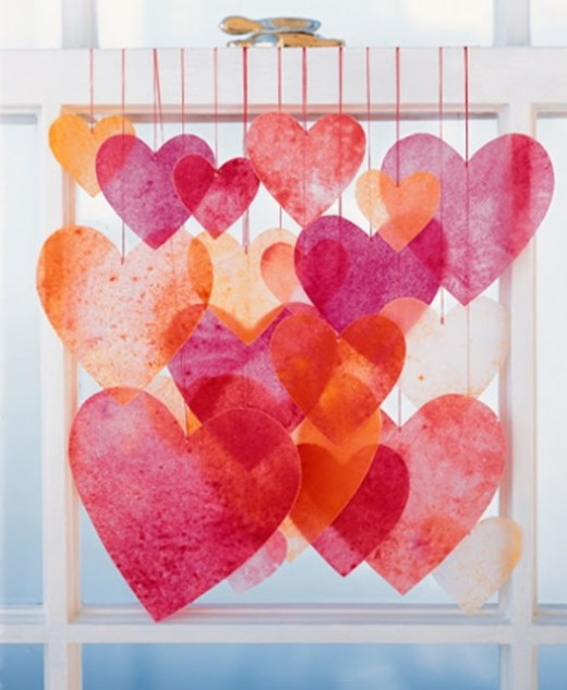 Tissue paper hearts