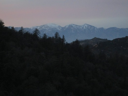 Snow capped peaks of Mount Baldy.