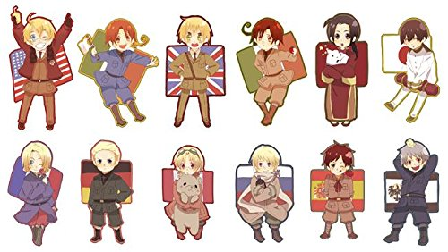 Hetalia Axis Powers characters featuring the flags and countries of the USA, Russia, Germany, France, Canada, UK, Spain, North & South Italy, Japan, China and Prussia