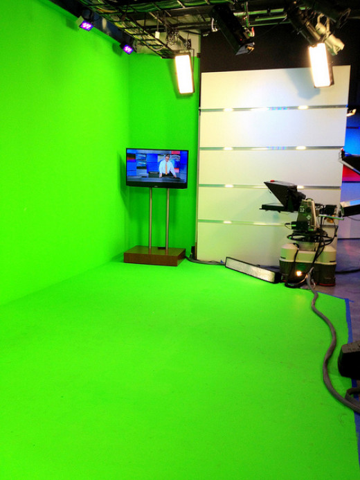 A green screen on the weather channel set.