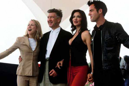 """Mulholland drive at Cannes in 2001"": The stars and director of the film Mulholland Drive at the 2001 Cannes Film Festival. Left to right: Naomi Watts, David Lynch, Laura Harring, Justin Theroux."