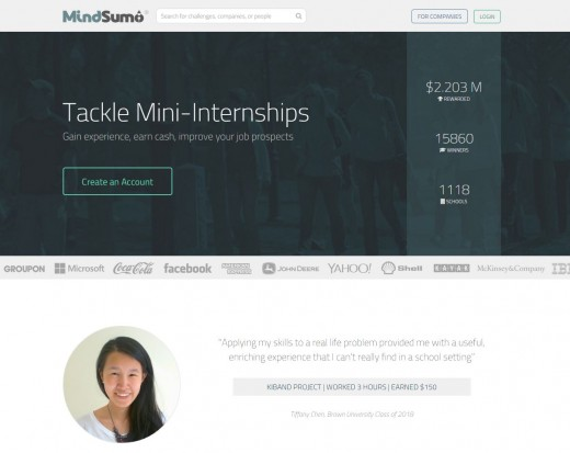 The homepage displays in real time the aggregate number of colleges, active students, and total challenges solved...and cash rewards given away.