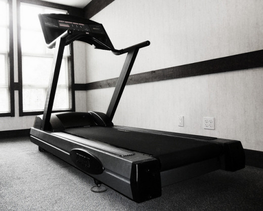 A standard treadmill on display