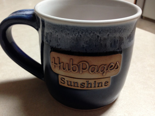 This fine mug was my trophy for being nominated Miss Cheerful in the 2014 Hubbie Awards.