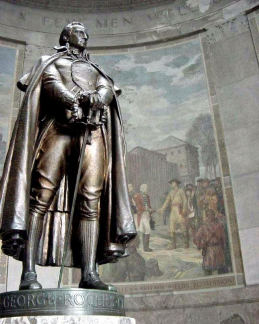 The memorial features a bronze statue of Geroge Rogers Clark surrounded by murals