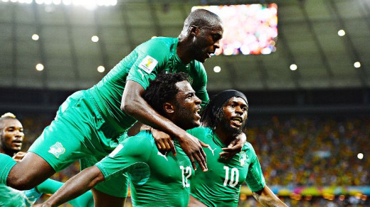 Yaya Toure, Wilfred Bony and Gervinho celebrating a goal