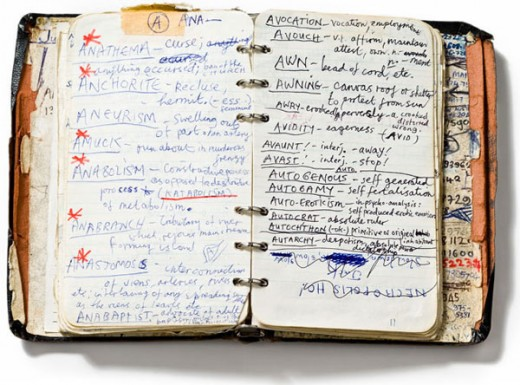 Nick Cave's handwritten dictionary