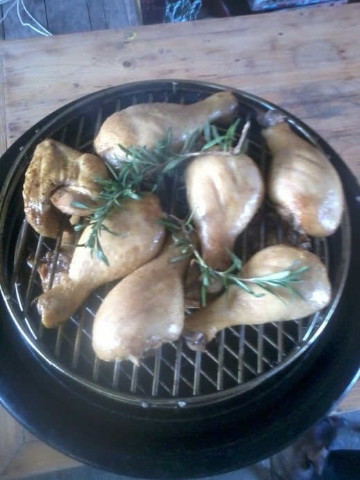 Smoked drumsticks with rosemary