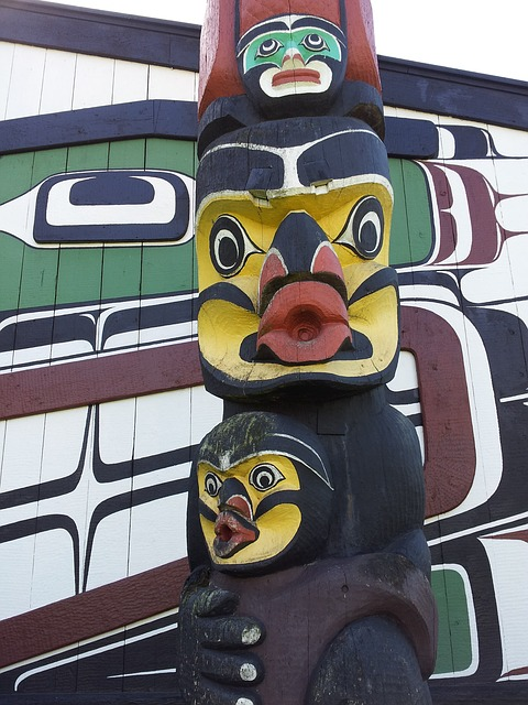 Pacific Northwest carved cedar pole. Each one tells a story.