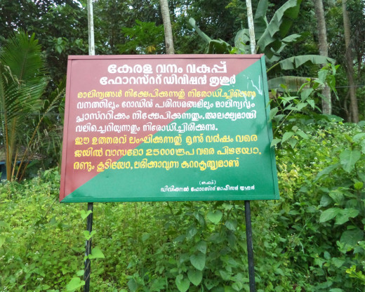 A signboard at the start of the trek route at Marottichal