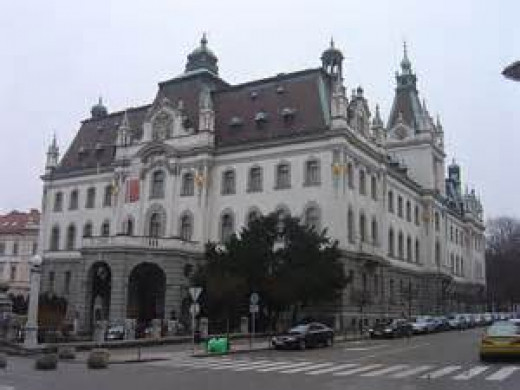 Ljubljana University built in 1902 on the site of the previous Provincial Palace, where the Austrian emperor, the Russian tsar and the king of Napels ended Napoleonic wars in 1821