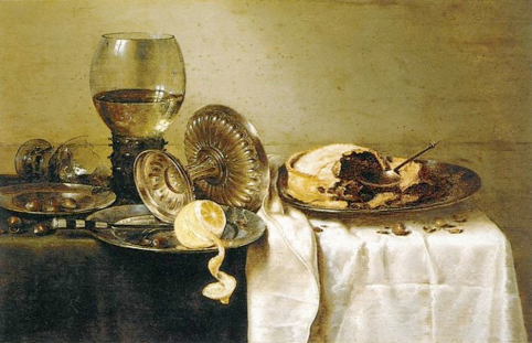 17th century Dutch painting featuring...a pie! Thought to be apple, at the very least is the same style.