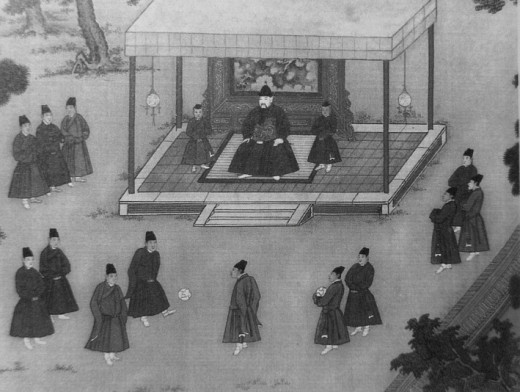 The Yongle Emperor observing court eunuchs playing cuju, an ancient Chinese game similar to soccer