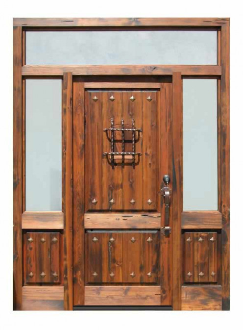 Gothic style wood door with sidelites and transom