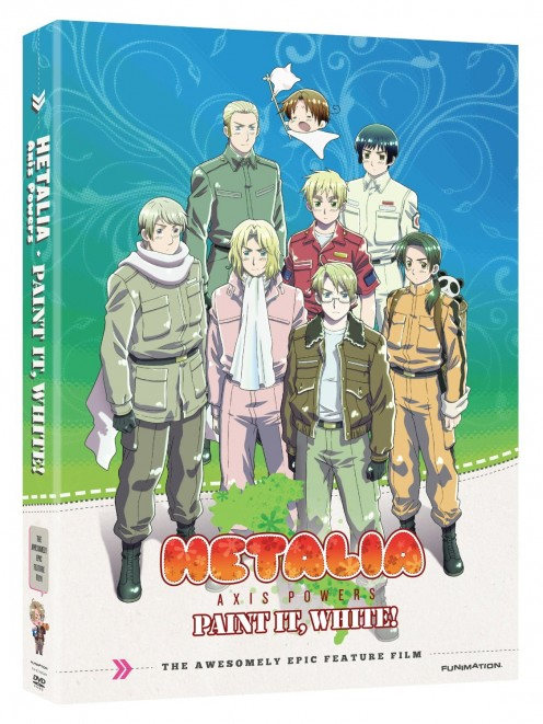 DVD cover featuring the Hetalia Axis Powers Paint It White movie. The characters you can see are: Russia, America, France, England, North Italy, China, Germany, Japan
