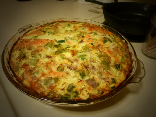 Completely cooked quiche from another angle