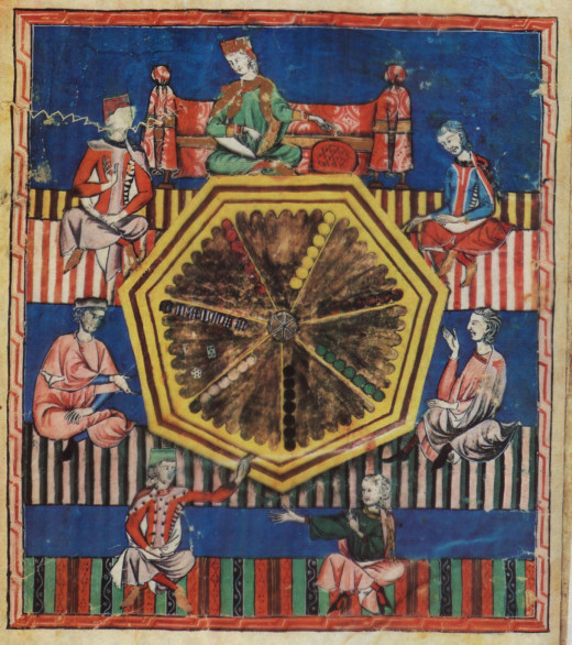 Folio 97 verso of the Libro de los juegos by Alfonso X, depicting the game of astronomical tables