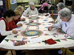A quilting club hard at work