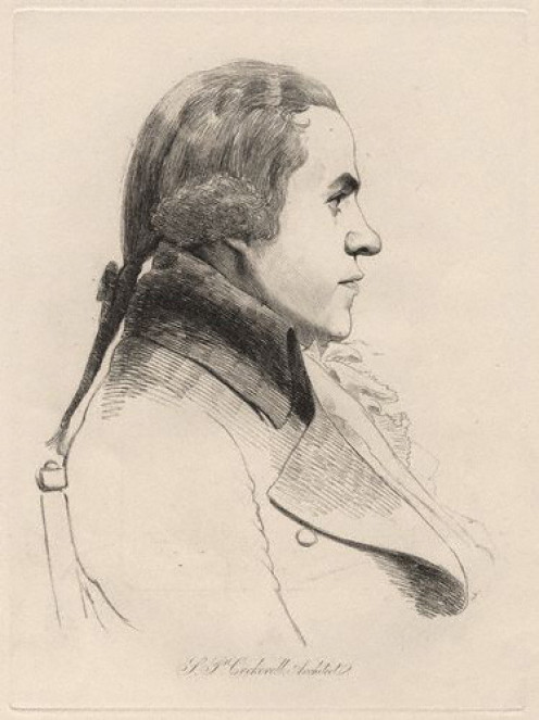 """""""Samuel Pepys Cockerell,"""" soft-ground etching, by the English artist William Daniell, 28 July 1793 (possibly published in 1854). 10 7/8 in. x 8 in. Courtesy of the National Portrait Gallery, London."""