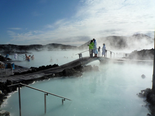 The Blue Lagoon; a geothermal pool in Iceland.