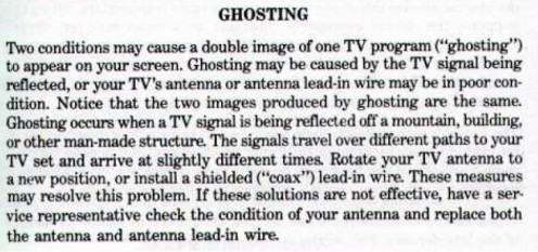 Discussion of the technical term 'ghosting' from the 1993 Interference Handbook developed by the Federal Communications Commission and published by the United States Governement Printing Office