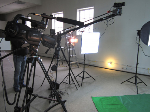 2 awesome Sony HD video cameras on the green screen set of Dynamic Lights Productions.