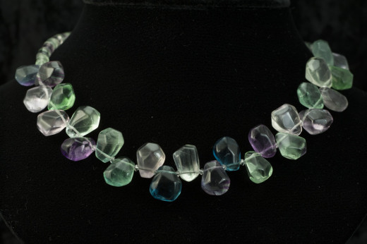 Multi-fluorite chunk necklace