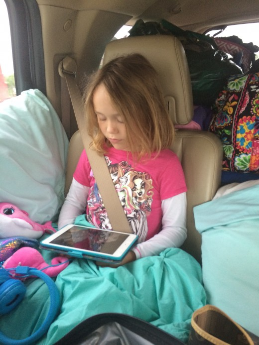 Rea snuggled up with her iPad and watched a movie over and over.