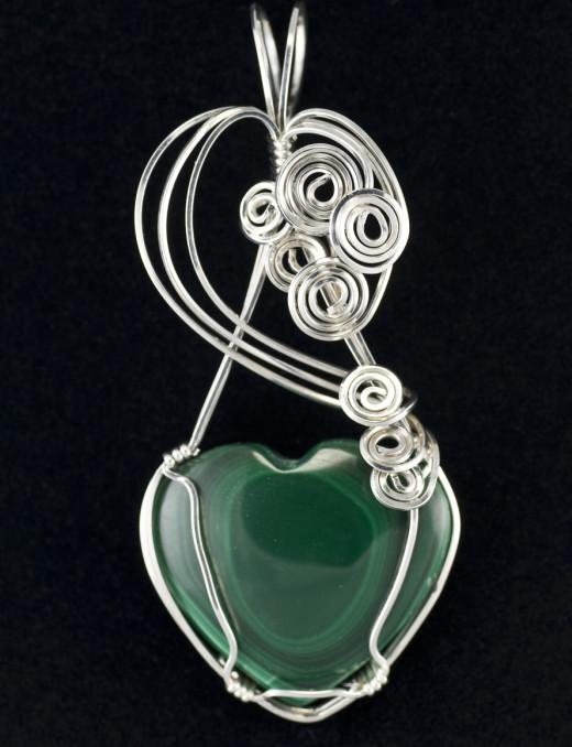 Malachite heart in silver setting