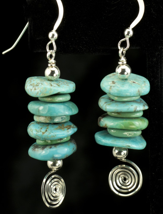 Stacked Turquoise Rondelle Earrings