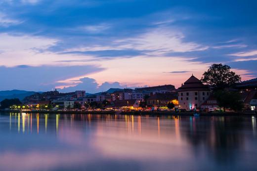 Maribor, lights reflecting on the Drava River
