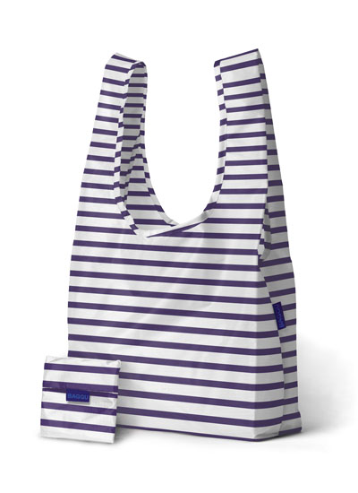 baggu blue and and white striped reusable bag