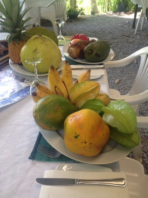 An array of exotic fruit, including Jack Fruit, Dragon Fruit and Sugar Bananas